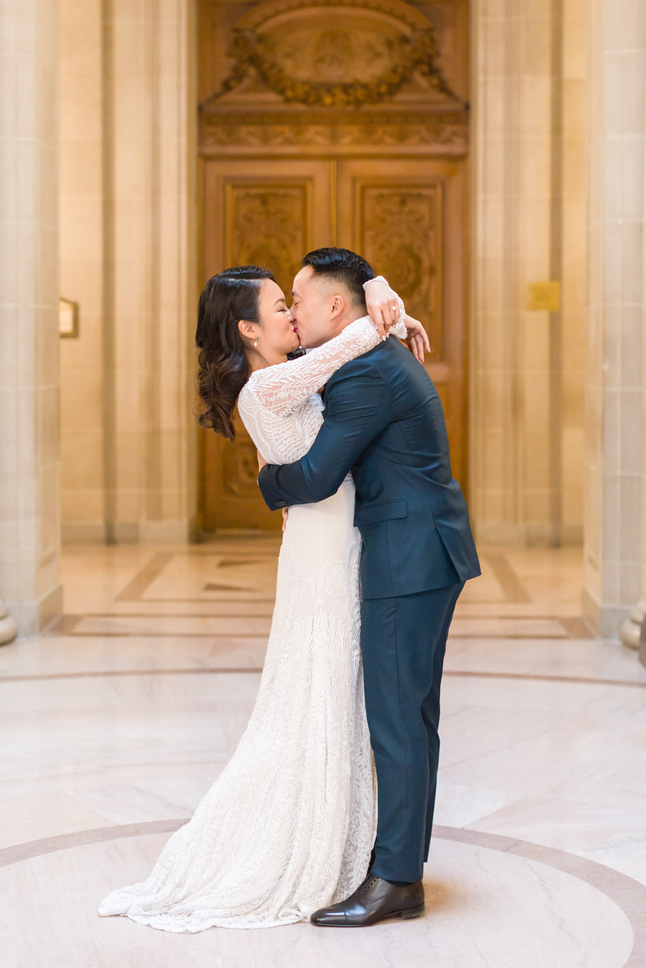 First kiss at Intimate San Francisco City Hall Wedding