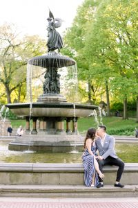A couple at Central Park for their New York City engagement photos